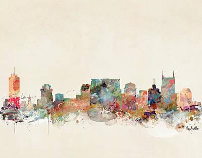 Nashville Skyline Digital Art - Nashville Tennessee Skyline  by Bri B