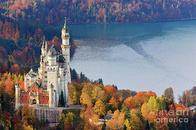 Romantic Location Photograph - Neuschwanstein Castle In Autumn Colours by Henk Meijer Photography