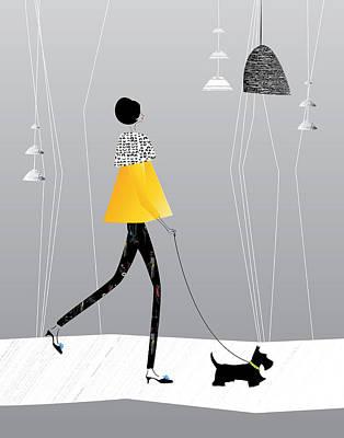Walking The Scottie Original by Dawn Connor