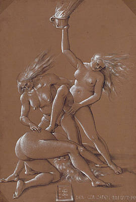 Art Nude Drawing - New Year's Greeting With Three Witches  by Albrecht Durer