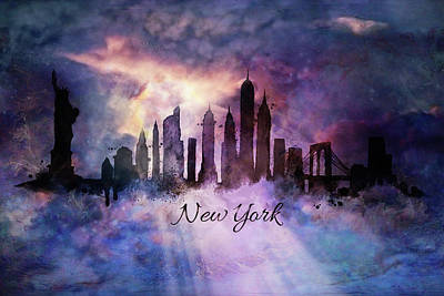 New York City Skyline In The Clouds Print by Lilia D