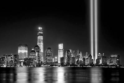 New York City Skyline Photograph - New York City Skyline Tribute In Lights And Lower Manhattan At Night Nyc by Jon Holiday
