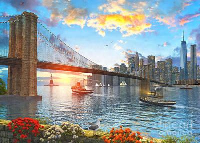 Nyc Digital Art - New York Sunset by Dominic Davison