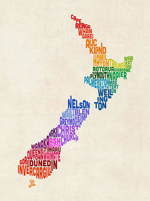 Kiwi Art Digital Art - New Zealand Typography Text Map by Michael Tompsett