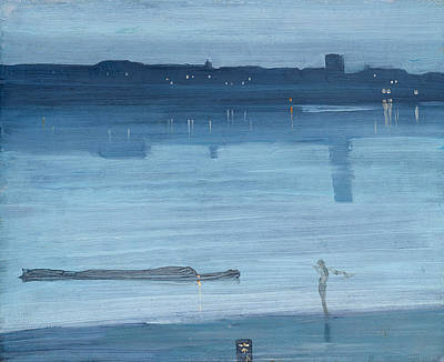 Tonalist Painting - Nocturne Blue And Silver Chelsea by James Abbott McNeill Whistler