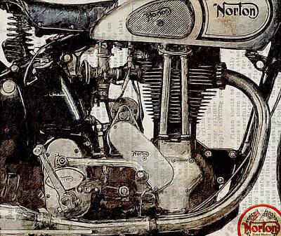 Drawing Digital Art - Norton Es 2 1948 by Yurdaer Bes