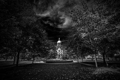 Notre Dame Photograph - Notre Dame University Black White by David Haskett
