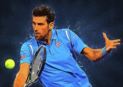 Federer Digital Art - Novak Djokovic by Semih Yurdabak