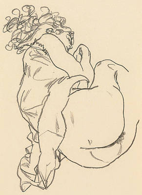 Crayons Drawing - Nude Lying Down by Egon Schiele