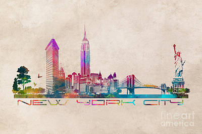 New York Digital Art - Nyc Skyline by Justyna JBJart
