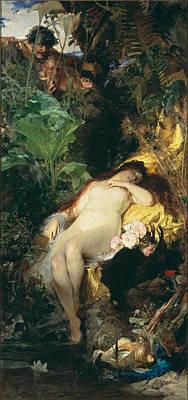 Julius Kronberg Painting - Nymph And Fauns by Julius Kronberg