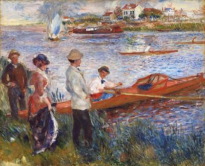 Good Times Painting - Oarsmen At Chatou by Auguste Renoir