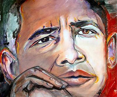 Barack Obama Painting - Obama II by Valerie Wolf