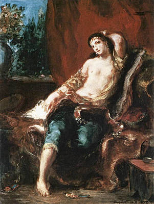 Reclining Painting - Odalisque by Eugene Delacroix