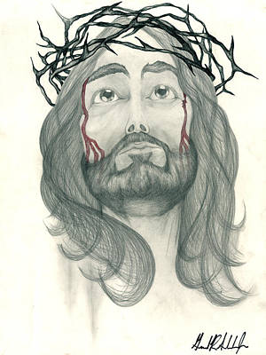Jesus Drawing - Ode To The Man Upstairs by Gerard  Schneider Jr
