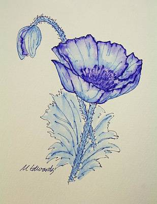 Thinking Of You Drawing - Oh Poppy by Marna Edwards Flavell