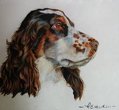 Cocker Spaniel Painting - Oil Painting Cocker Spaniel Dog by Helen Elderkin