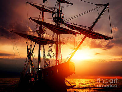Sail Photograph - Old Ancient Pirate Ship On Peaceful Ocean At Sunset.  by Michal Bednarek