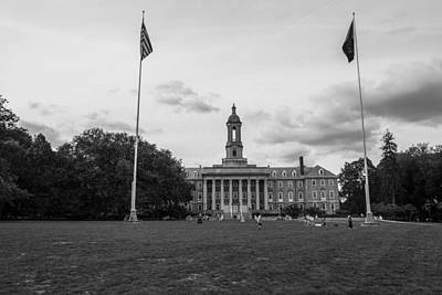 Penn State University Photograph - Old Main Penn State Black And White  by John McGraw