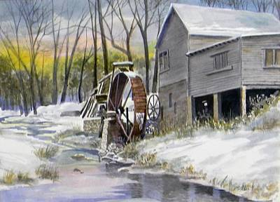 Grist Mill Painting - Old Mill In Winter by Jack Bolin