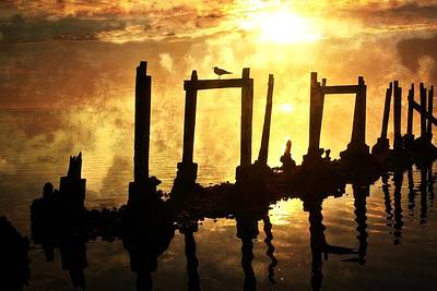 Photograph - Old Pier At Sunset by Marty Koch