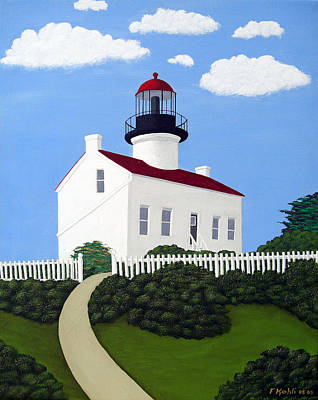 Historic Lighthouse Images Painting - Old Point Loma Lighthouse by Frederic Kohli