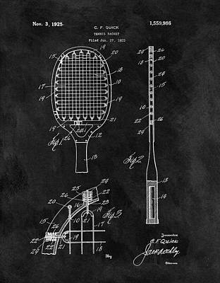 Tennis Drawing - Old Tennis Racket Patent by Dan Sproul