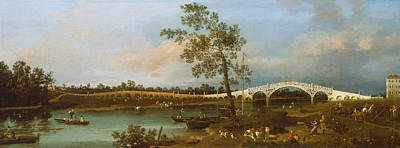 Italian Landscape Painting - Old Walton Bridge by Canaletto