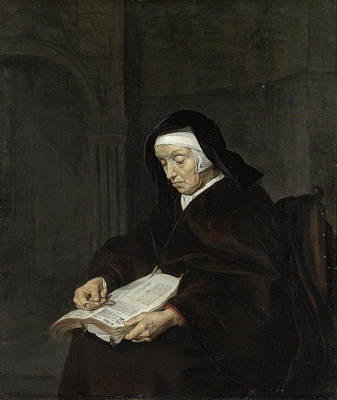 Aged Painting - Old Woman Meditating by Gabriel Metsu