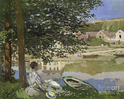 On The Bank Of The Seine, Bennecourt Print by Claude Monet
