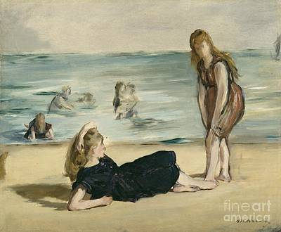 Sisters Painting - On The Beach by Edouard Manet