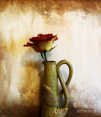 Hand Made Photograph - One Rose by Marsha Heiken