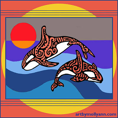 Orca Drawing - Orca Dance by Molly Williams
