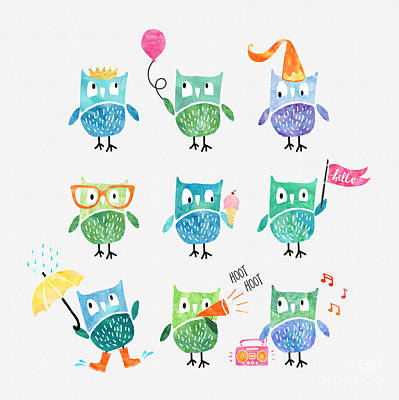 Party Birthday Party Digital Art - Owls Are A Hoot by Natalie Kinnear