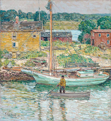 Childe Hassam Painting - Oyster Sloop. Cos Cob by Childe Hassam