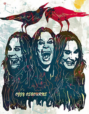 Development Mixed Media - Ozzy Osbourne Pop Stylised Art Poster by Kim Wang