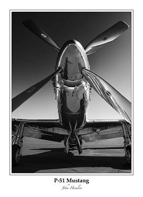 North American Print featuring the photograph P-51 Mustang - Bordered by John Hamlon