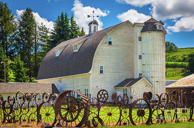 Eccentric Photograph - Palosue Wagon Wheel Fence  by Inge Johnsson
