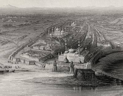 River Scenes Drawing - Panoramic View Of New And Old Delhi by Vintage Design Pics
