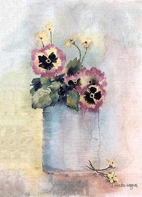 Pansy Painting - Pansies In A Can by Arline Wagner