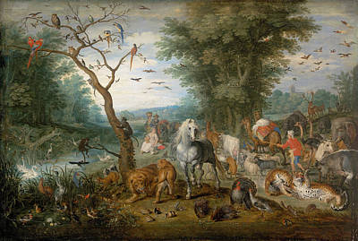 Bird Painting - Paradise Landscape With Animals by Jan Brueghel the Elder