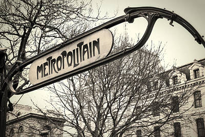 Metro Art Photograph - Paris Metro Sign by Andrew Soundarajan