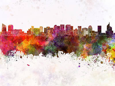 Paris Skyline In Watercolor Background Print by Pablo Romero
