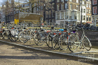 Parked Bikes In Amsterdam Print by Patricia Hofmeester