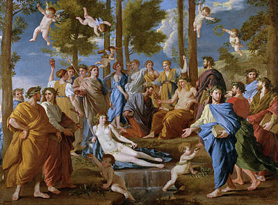 Angel Painting - Parnassus by Nicolas Poussin