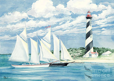 Light House Painting - Passing The Light by Paul Brent