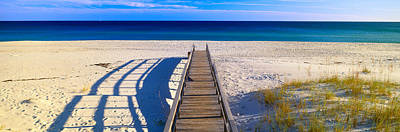 Pensacola Beach Photograph - Pathway And Sea Oats On Beach At Santa by Panoramic Images
