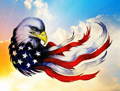 Yellow Beak Painting - Patriotic Eagle by Andrew Read