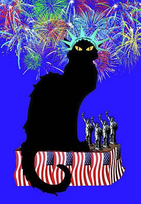 4th Of July Mixed Media - Patriotic Le Chat Noir by Gravityx9 Designs