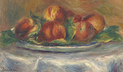 Peaches On A Plate Print by Pierre Auguste Renoir